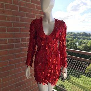 Dresses & Skirts - Asymmetric Sequin Mini Dress - Red (Size 4/Small)